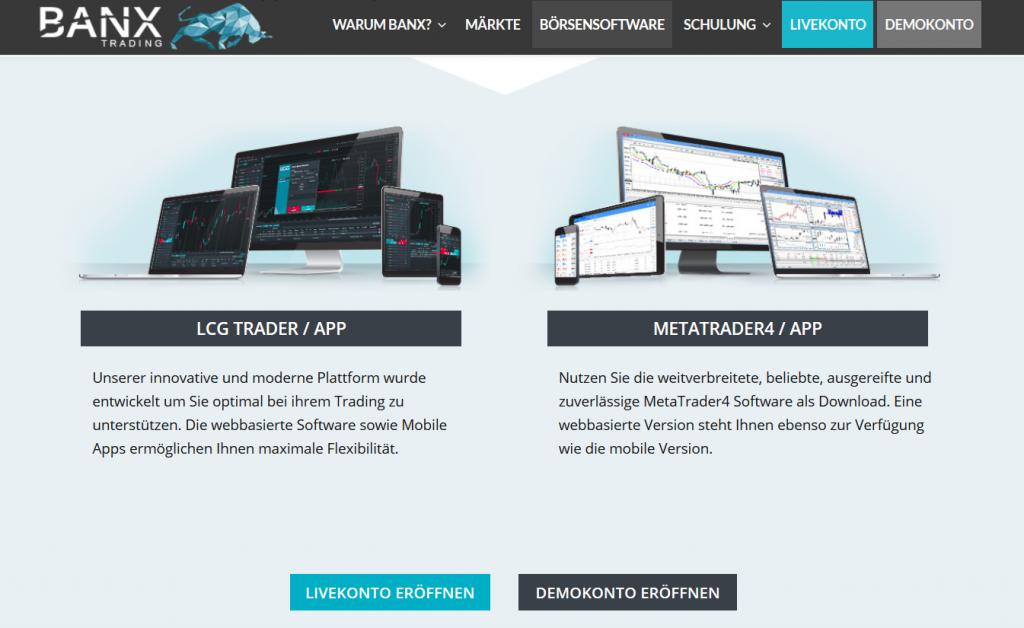 Der MetaTrader 4 bei BANX Trading