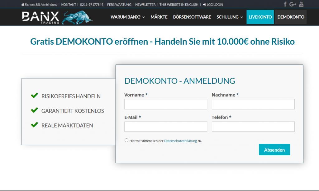 Das Demokonto von BANX Trading